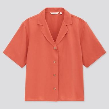 Women Linen Blend Short-Sleeve Shirt, Orange, Medium