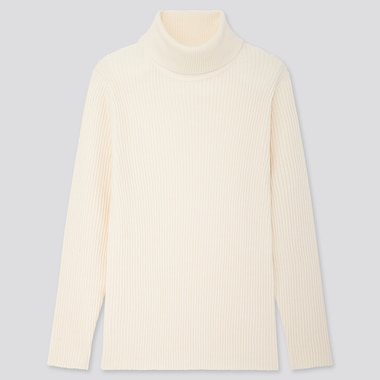 Men Ribbed Turtleneck Long-Sleeve Sweater, Off White, Medium