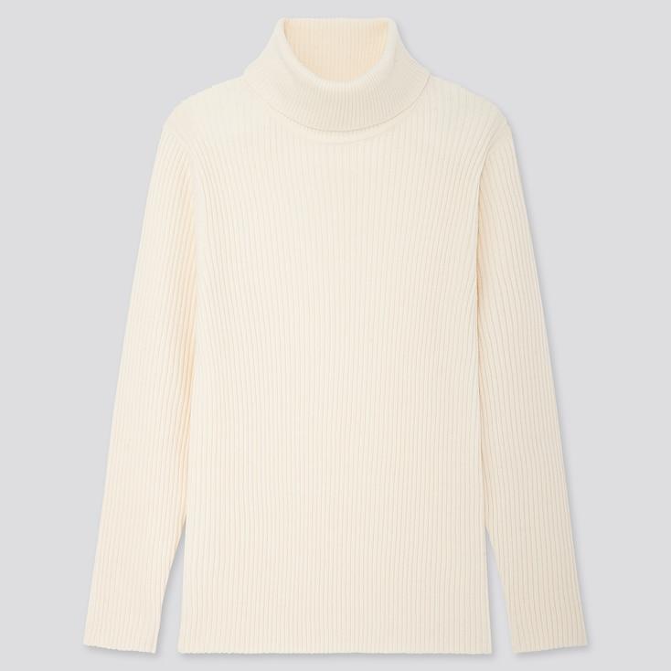 Men Ribbed Turtleneck Long-Sleeve Sweater, Off White, Large