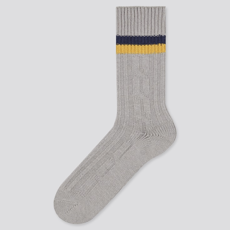 Men Heattech Cable Line Socks (Online Exclusive), Gray, Large