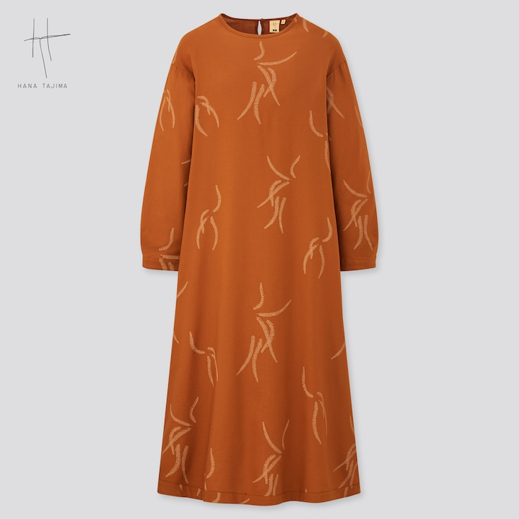 Women Printed Long-Sleeve Flare Dress (Hana Tajima), Orange, Large