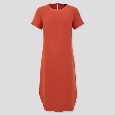 Women Side Slit Short-Sleeve Dress, Orange, Medium