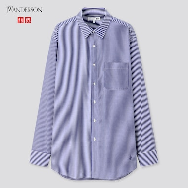 Men Easy Care Striped Long-Sleeve Shirt (Jw Anderson), Blue, Medium