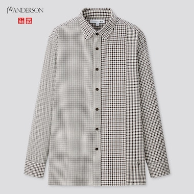 Men Flannel Checked Long-Sleeve Shirt (Jw Anderson), Gray, Medium
