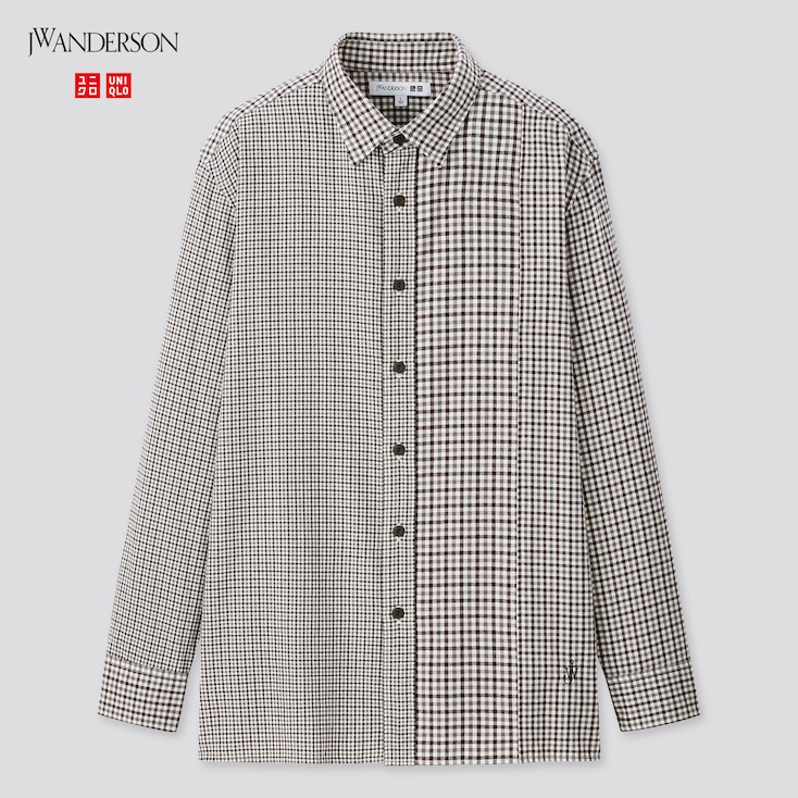 Men Flannel Checked Long-Sleeve Shirt (Jw Anderson), Gray, Large