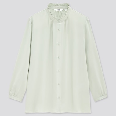 Women Rayon Frill Long Sleeved Blouse