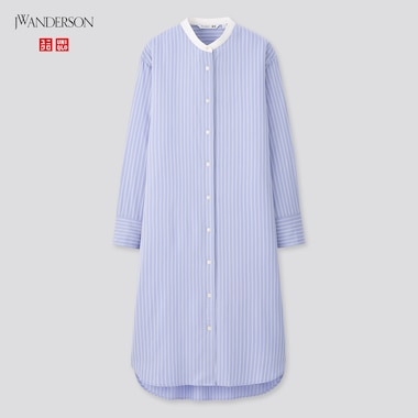 Women Rayon Stand Collar Shirt Dress (Jw Anderson), Blue, Medium