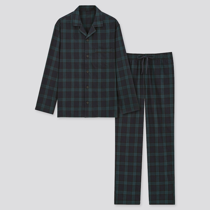 Men Flannel Long-Sleeve Pajamas, Dark Green, Large