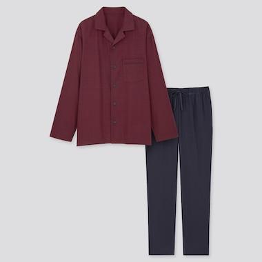 Men Flannel Long-Sleeve Pajamas, Red, Medium