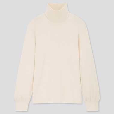 Women Soft Knitted High Neck Puff Long Sleeved T-Shirt