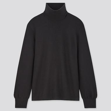 Women Soft Knitted High-Neck Puff Long-Sleeve T-Shirt, Black, Medium
