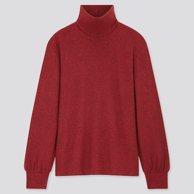 Women Soft Knitted High-Neck Puff Long-Sleeve T-Shirt, Red, Medium