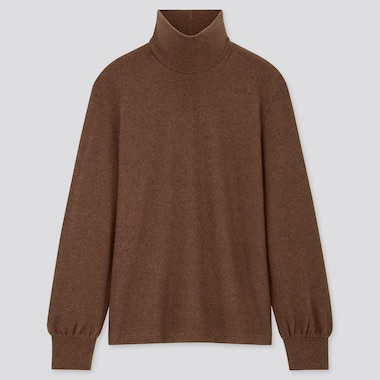 Women Soft Knitted High-Neck Puff Long-Sleeve T-Shirt, Dark Brown, Medium