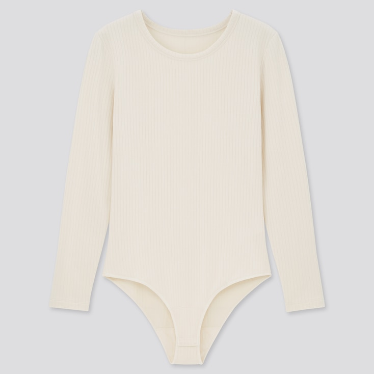 Women Heattech Extra Warm Ribbed Body Suit, Off White, Large