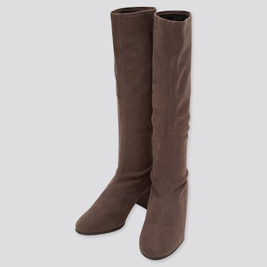 Women Stretch Long Boots, Dark Brown, Medium