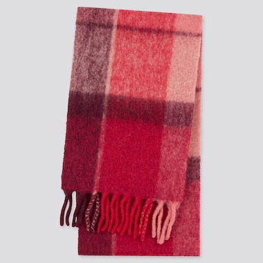 Women Brushed Wool-Blend Checked Scarf, Red, Medium