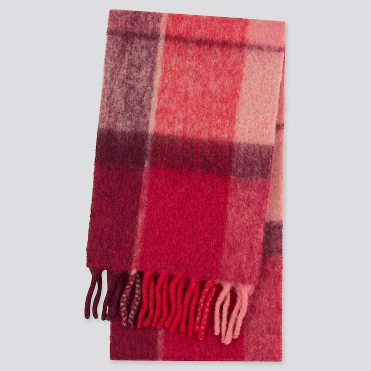 Women Brushed Wool-Blend Checked Scarf, Red, Large