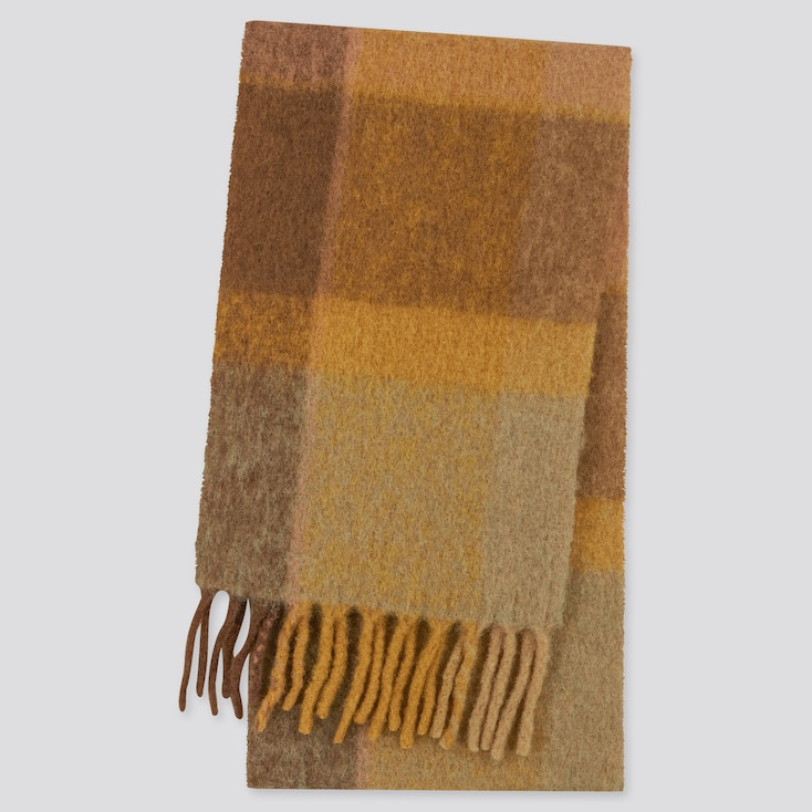 Women Brushed Wool-Blend Checked Scarf, Yellow, Large