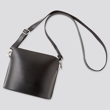 Women Faux Leather Mini Shoulder Bag, Black, Medium