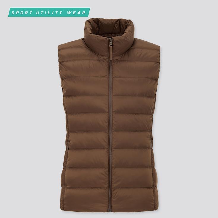 Women Ultra Light Down Vest, Dark Brown, Large