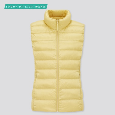 Women Ultra Light Down Vest, Yellow, Medium