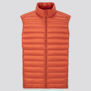 Men Ultra Light Down Vest, Orange, Medium