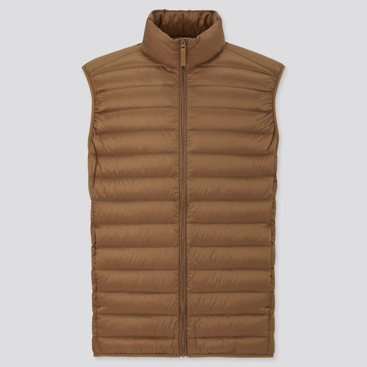 Men Ultra Light Down Vest, Brown, Large
