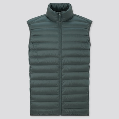 Men Ultra Light Down Vest, Dark Green, Medium