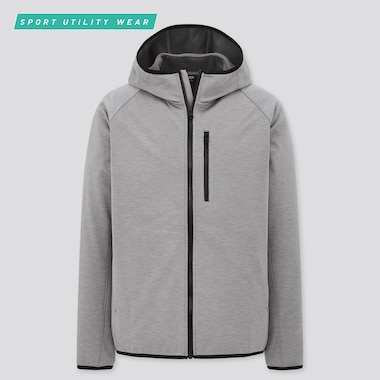 Men Windproof Fleece Long-Sleeve Full-Zip Hoodie, Gray, Medium