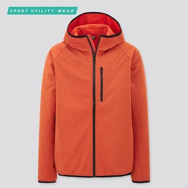 Men Windproof Fleece Long-Sleeve Full-Zip Hoodie, Orange, Medium