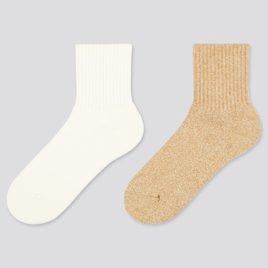 Women Crew Pile Heattech Socks (2 Pairs) (Online Exclusive), Off White, Medium