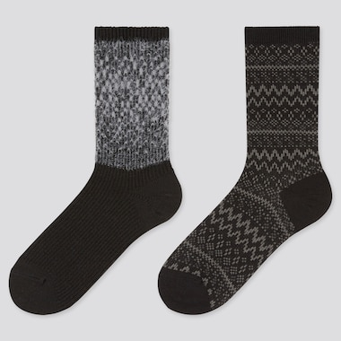 Women Furry Heattech Socks (2 Pairs) (Online Exclusive), Black, Medium