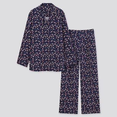 Women Rayon-Satin Long-Sleeve Pajamas (Princesse Tam.Tam) (Online Exclusive), Navy, Medium