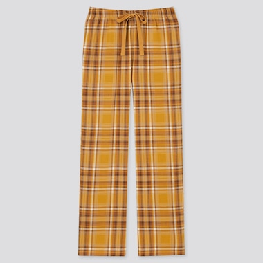 Women Flannel Pants, Yellow, Medium