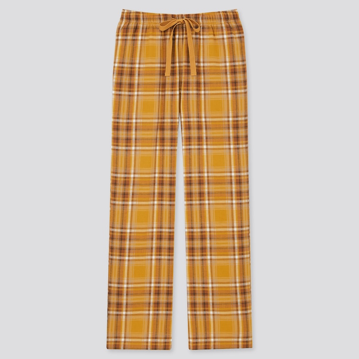 Women Flannel Pants, Yellow, Large