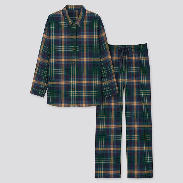 Women Flannel Long-Sleeve Pajamas, Green, Large