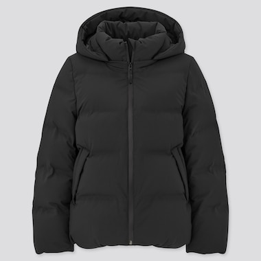 Women Seamless Down Parka, Black, Medium