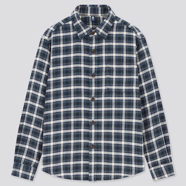 Kids Flannel Checked Long-Sleeve Shirt, Dark Green, Medium