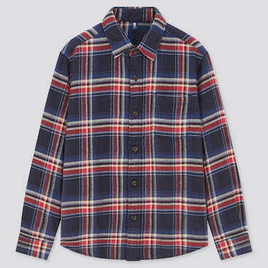 Kids Flannel Checked Long-Sleeve Shirt, Navy, Medium
