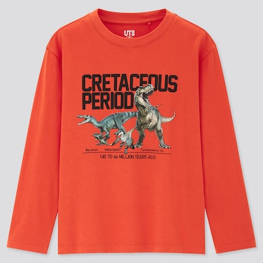 Kids Natural History Museum Ut (Long-Sleeve Graphic T-Shirt), Orange, Medium