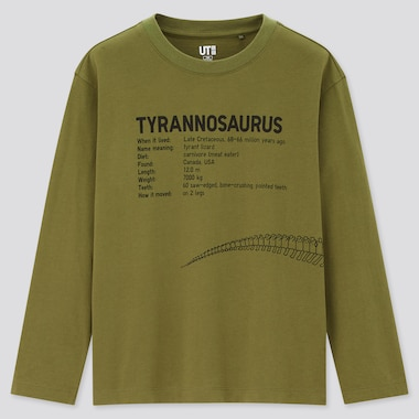 Kids Natural History Museum Ut (Long-Sleeve Graphic T-Shirt) (Online Exclusive), Olive, Medium
