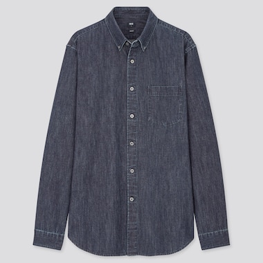 Men Denim Slim Fit Shirt (Button-Down Collar)