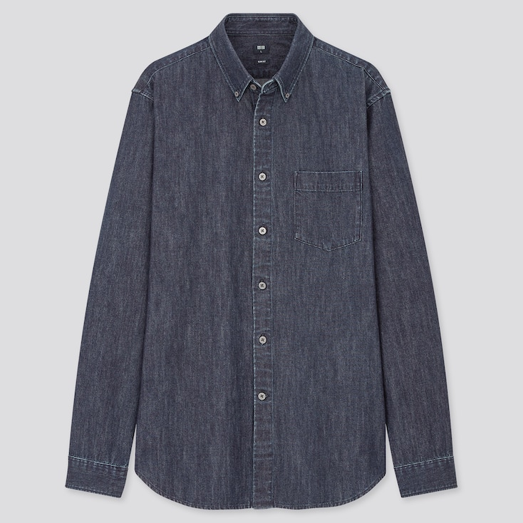 Men Denim Slim-Fit Long-Sleeve Shirt, Navy, Large