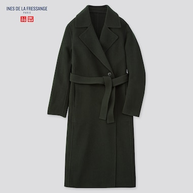 Women Wool-Blend Double-Faced Coat (Ines De La Fressange), Dark Green, Medium