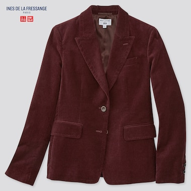 Women Velvet Jacket (Ines De La Fressange), Wine, Medium