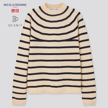 Women Ines 3D Knit Extra Fine Merino Striped Sweater