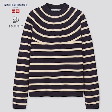 Women 3d Knit Extra Fine Merino Striped Sweater (Ines De La Fressange), Navy, Medium