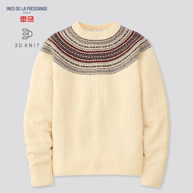 Women 3d Knit Jacquard Sweater (Ines De La Fressange), Natural, Medium