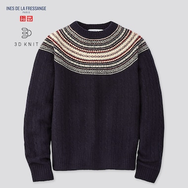 Women 3d Knit Jacquard Sweater (Ines De La Fressange), Navy, Medium
