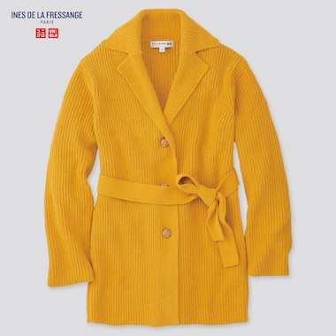 Women Belted Long Cardigan (Ines De La Fressange), Yellow, Medium